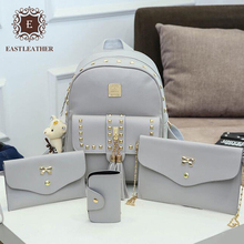 E2438 Korea 2017 latest product rivets designs of set backpack for lady