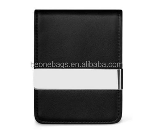 Business men black leather wallet money clip wholesale