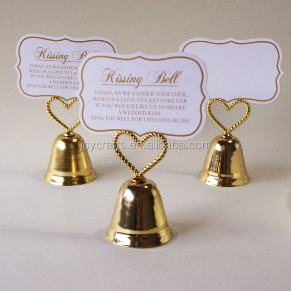 Wedding Table Decoration Gold Color Kissing Bell Name Place Card Holder
