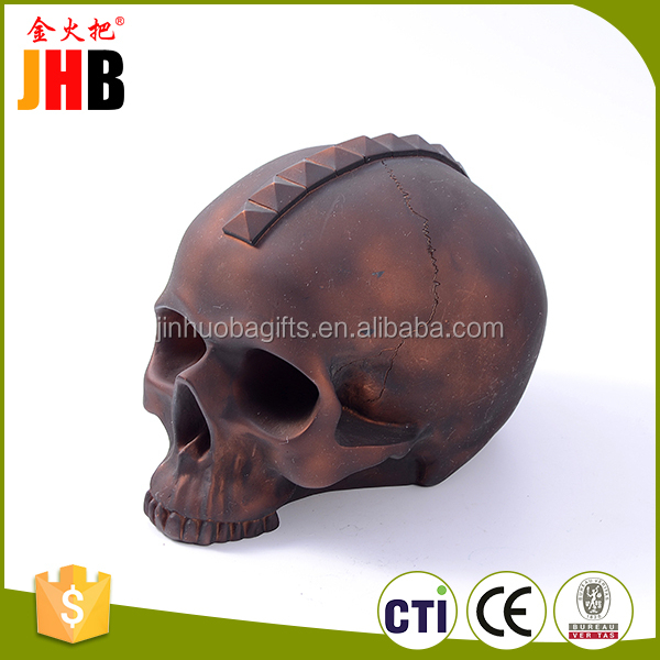 Hot sell craft skull shape gift decoration coin bank polyresin money box