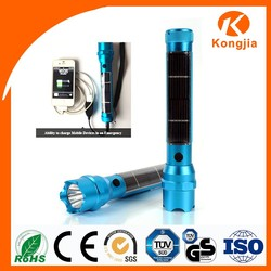 Kongjia 3W 200Lumens Led Solar Flashlight Power Bank Solar USB Phone Charger