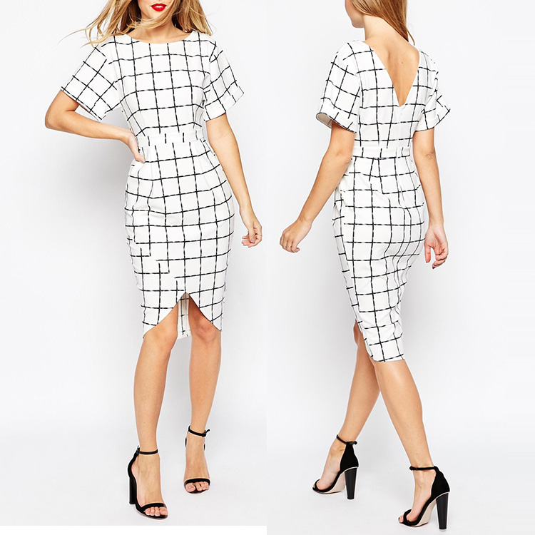 Oem supplier custom design wrap style V neckline back women plaid pencil dress