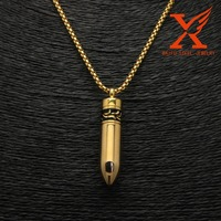 TI Fashion Men Gold Silver Steel Bullet Pendant USA Cool Jewelry Gift Three Color