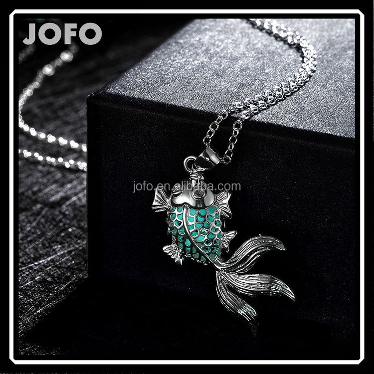 Jofo Brand Goldfish Pendant Night Light Luminous Stone Fluorite Pendant Necklace For Girl LKNJ0024