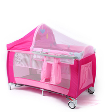 Cobabies wholesale adjustable luxury baby playpen double cot bed baby folding bed