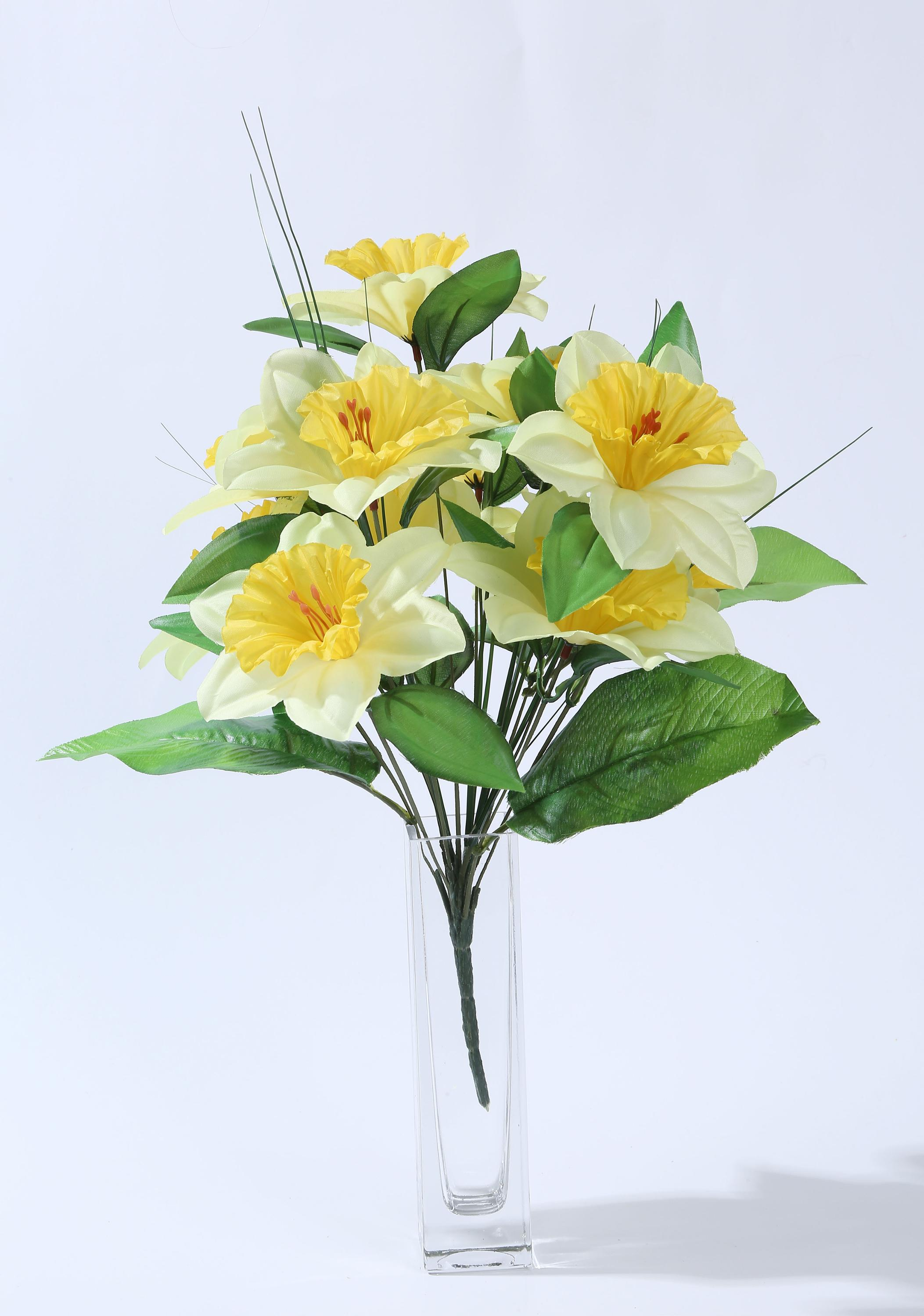 Poland style artificial funeral decoration flowers 12 heads daffodil poland style artificial funeral decoration flowers 12 heads daffodil fabric flowers wholesale izmirmasajfo