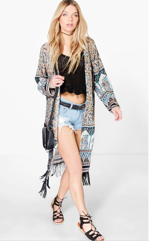 western long sleeve floral printed kimono for ladies