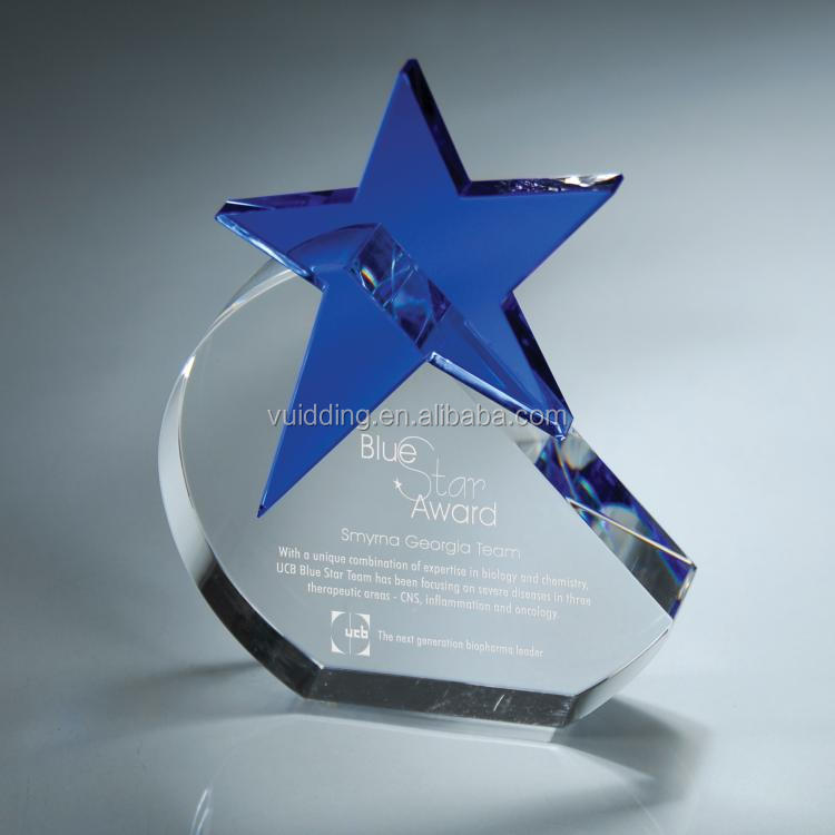 Clear Crystal Blue Star Awards For Cooperation Friend's Souvenir