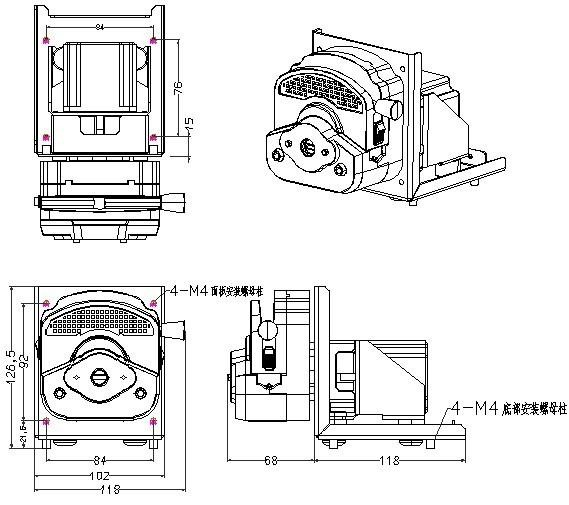 Easy load OEM peristaltic pump 253Yx