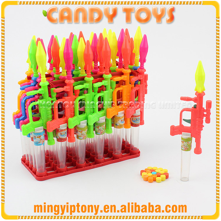 Children gun toy candy, small missile gun toy with sugar candy
