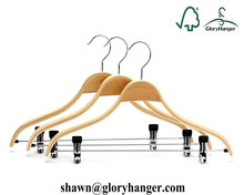 New Products Laminated plywood skirt/shirt/suit hanger with rubber coated anti-slip clips
