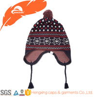 Wholesale Cashmere Ear Cover Beanie Hats With Top Ball