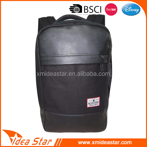 European style leather black wholesale brand backpack bag