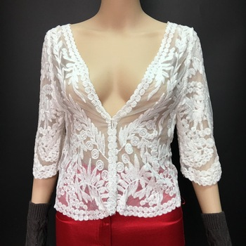 2016 white beige sheer floral lace blouse for Middle aged women ladies crochet top