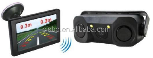 2.4G Wireless Rearview System with 4.3'' LCD Roof Mount Rear Monitor and 3 in 1 Video Parking Sensor