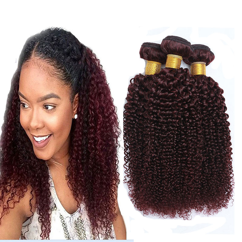 Wholesale Premium Quality 99j Red Brazilian Curly Hair Extensions