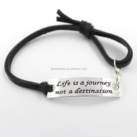 """Life is a journey not a destination"" Engraved Inspirational Leather Hand Friendship Handmade Woven Bracelet"