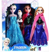 Hot Selling Frozen Doll Wholesale Frozen Movable Joints Doll Elsa and Anna 11.5 Inch including Olaf Doll with Sound