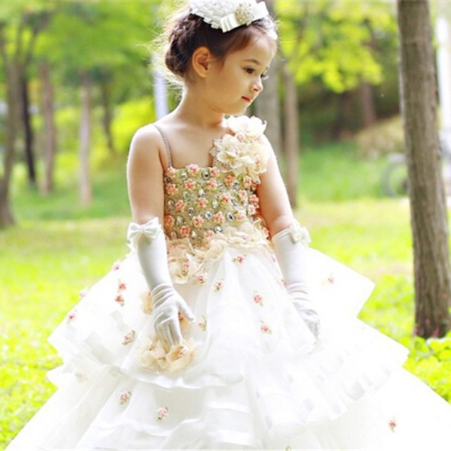 high quality girl full flower design cheap elegant bridesmaid dresses for child long kids wedding dress
