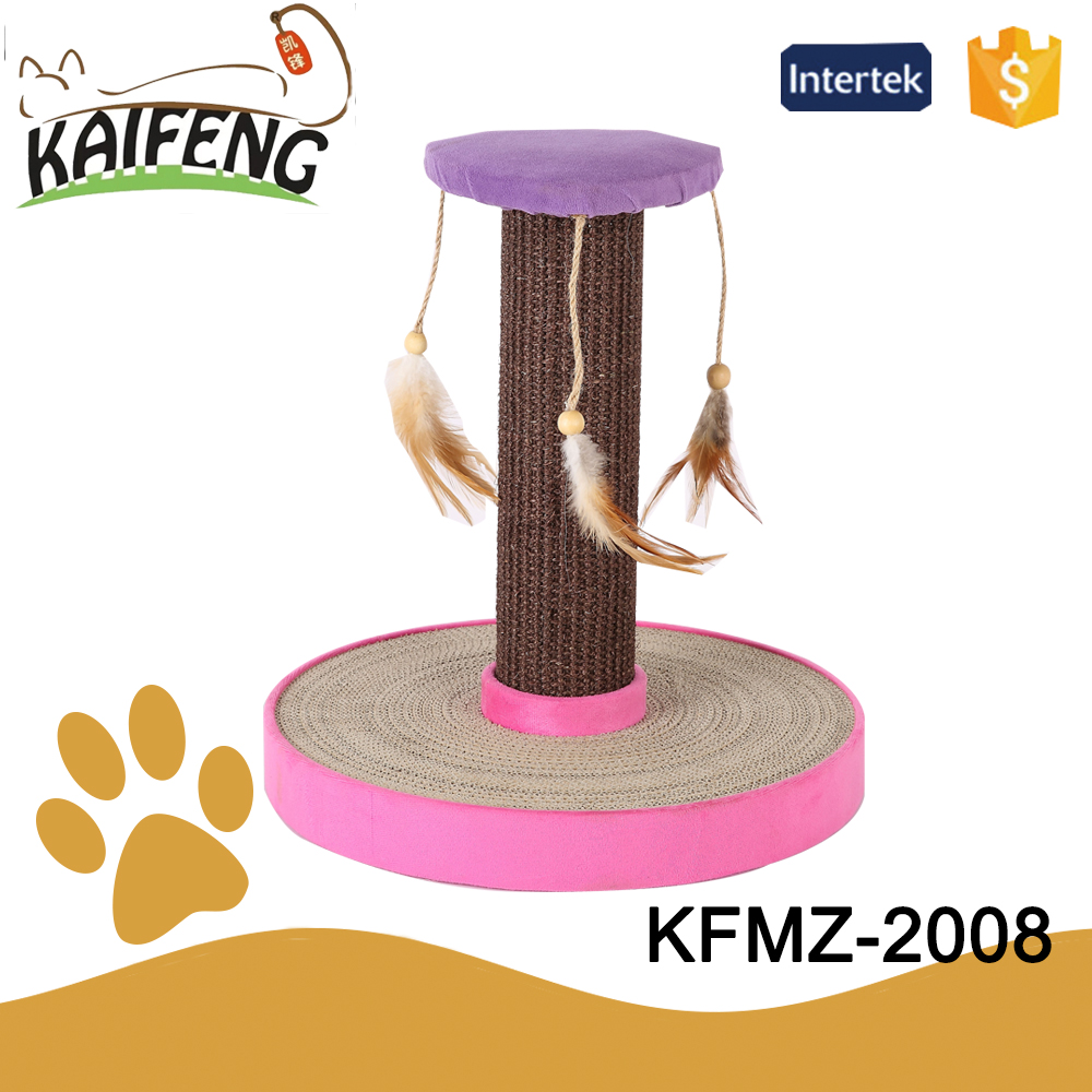 KF cheap and fashionable climbing little cat sisal post with wing feather toy