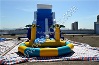CE Newest design commercial inflatable water slides, inflatable water slide with a pool B4109