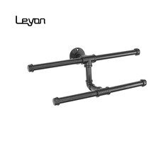 Wall Mount Industrial Pipe Hanger Holder Rack Clothes Bar Iron black pipe closet display rack pipe <strong>fitting</strong>