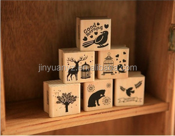 Wholesale price forest theme wooden stamp sets for kids