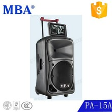 New style 15'' professional trolley speaker with USB/SD card reader /FM /ipod dock