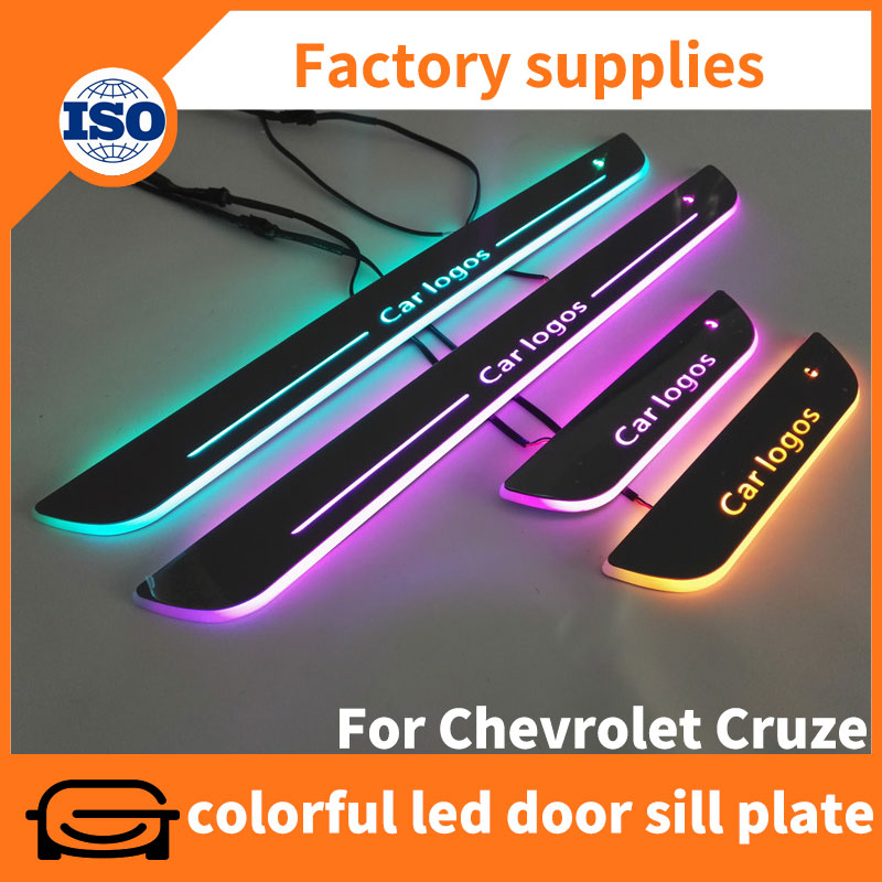 New custom design acrylic RGB led moving door sill guard for Chevrolet Cruze 2014-2016