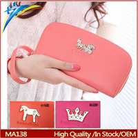 Japan Korea style ladies wrist wallet wholesale to import with crown and horse pattern