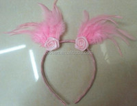 Kids pink feather headband with pink rose decoration