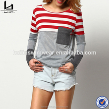 Chinese clothing manufacturer 65% polyester 35% rayon hot basic wholesale striped t-shirt