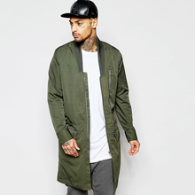Bomber jacket in extreme longline with drop collar long bomber jacket custom