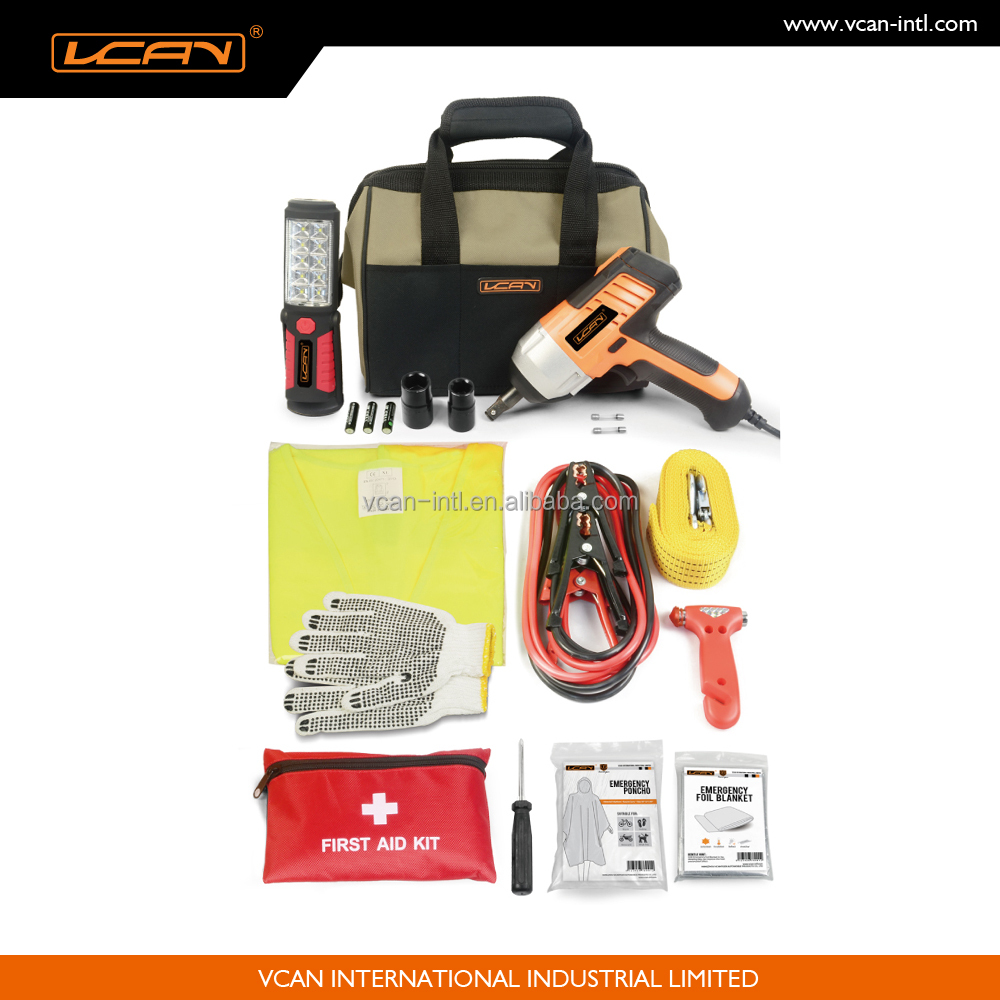High Quality Auto Survival Tool Emergency Kit with Electric Impact Wrench,Booster Cable,Tow Rope