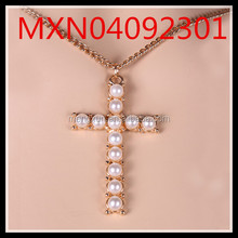 Korean Hot Xiao Xiang Style Fashion accessories chain wild pearl cross pendant sweater chain
