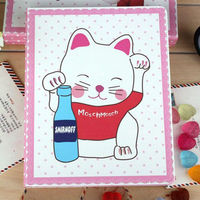 for Apple ipad 2/3/4 cute cartoon cat leather flip case functional case