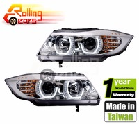 LED angel eyes headlight assembly for BMW E90 E91 316 318 320 325 328 330 335d 335i 2009~2012 (Left hand drive) Chromed