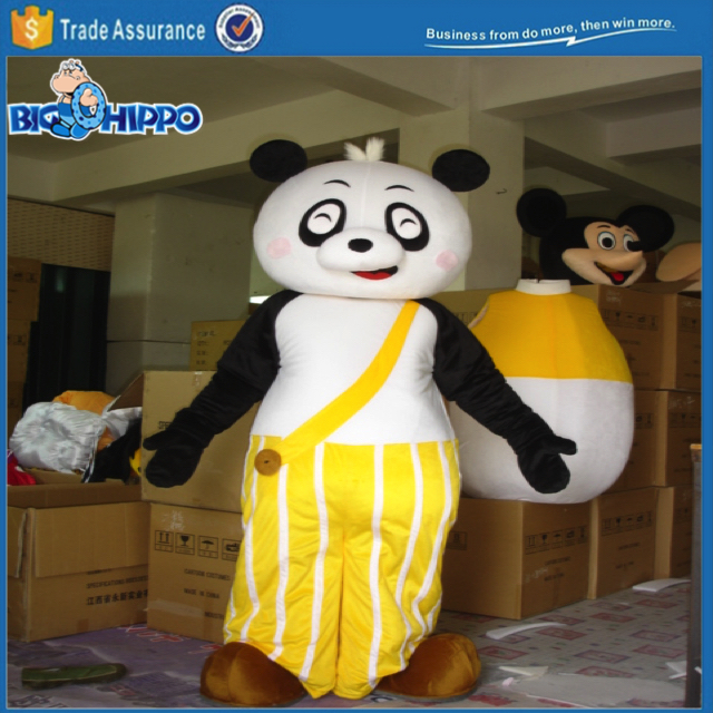 Yellow pants happy panda cartoon character high quality custom mascot costume