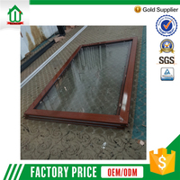 Wooden color aluminum fixed panel window