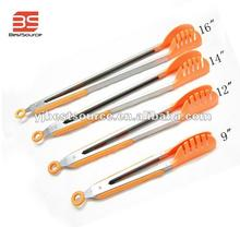 Colorful Nylon tongs with stainless steel handle useful kitchen accessories bread BBQ tongs
