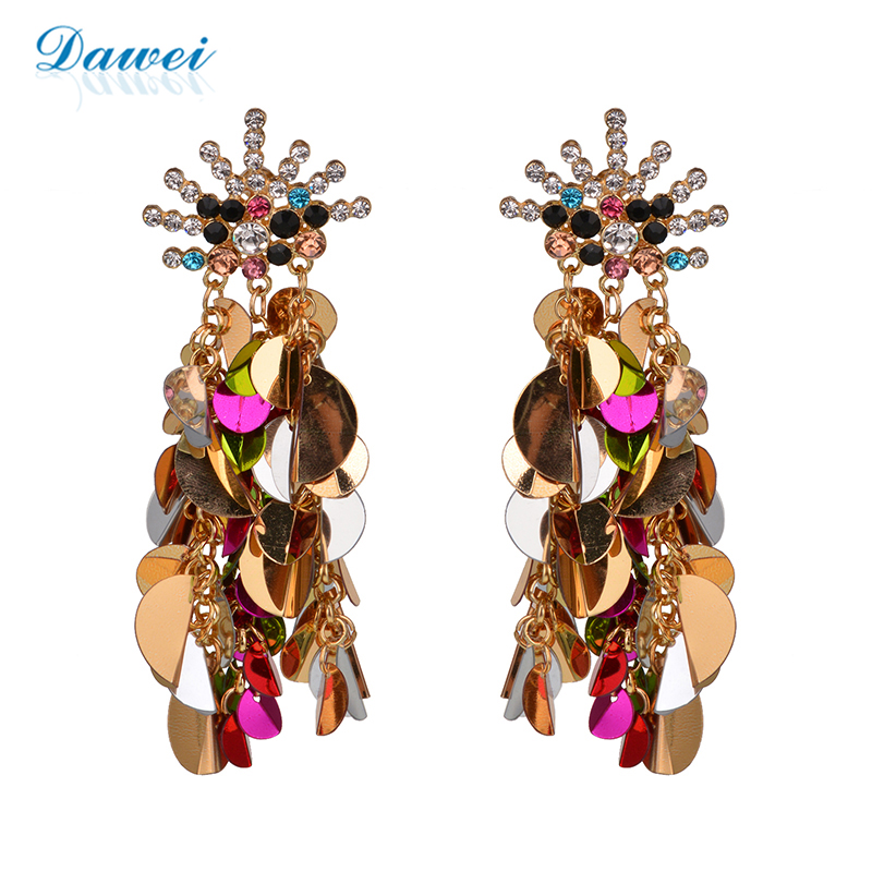 Handmade Embled Plastic Sequins Clear Crystal Stud Tel Design Shiny Earrings Women Earringswomen