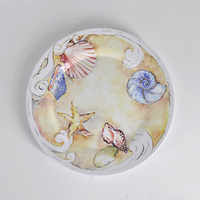 Cute sea starfish and seashell dinner dish plate