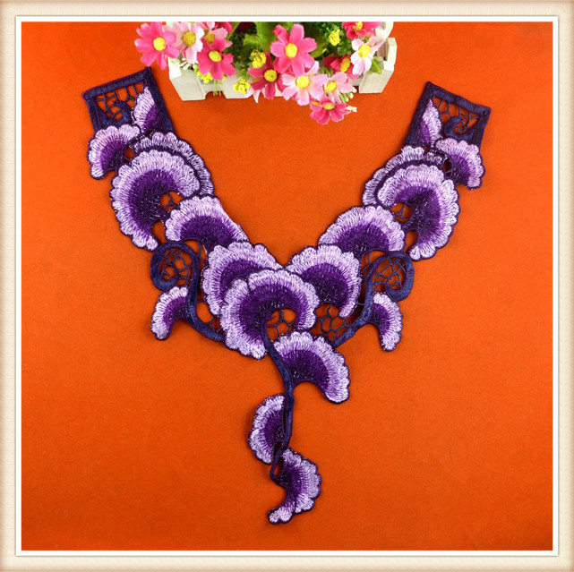 Fashion embroidered decorative neck applique wholesale embroidery design collar for women