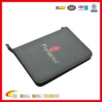 Color logo high quality 600D polyester pouch with transparency pvc sheets inside