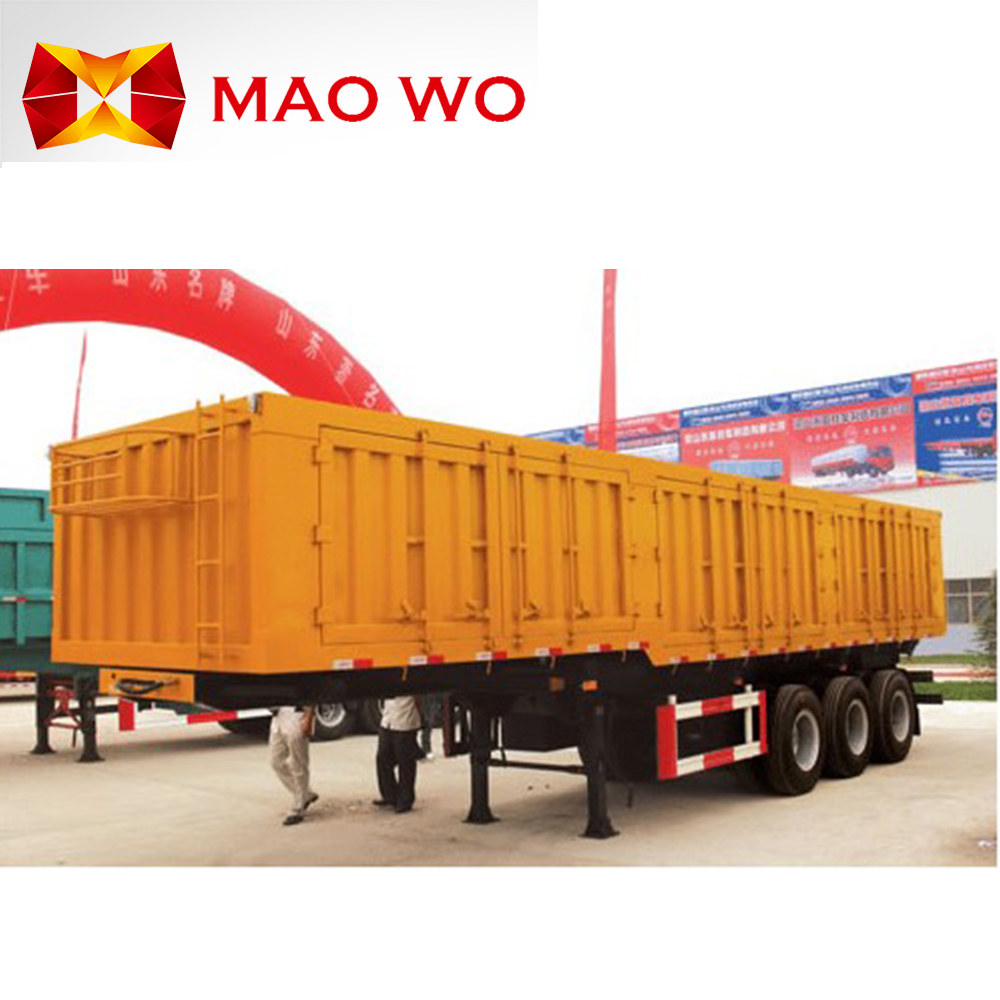 Maowo manufacture tri-axle 40 ton high board side panel side wall cargo semi trailer