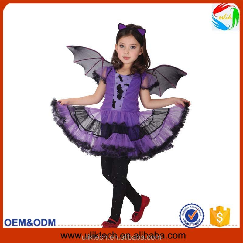 new style Purple color Party Costume for Girl Children Dance Costumes for Kids Bat Halloween Chrismas Costume Fancy dress