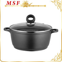 black color with glass lid die casting aluminum stock pot