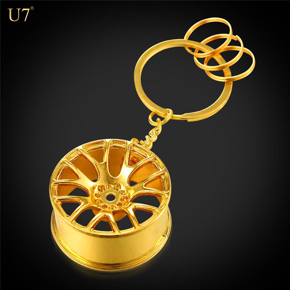 U7 New Design Cool Luxury metal Keychain Car Key Chain Key Ring creative wheel hub chain For Man Women Gift