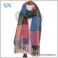latest fashion plaid patched pashmina scarf