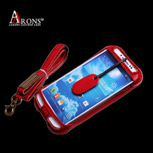 Genuine leather with neck strap phone back cover case for samsung